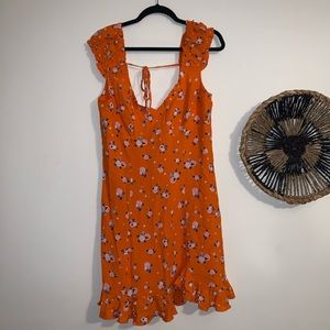 Free People Like a Lady Mini Dress in Orange